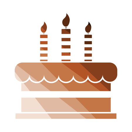 Party cake icon. Flat color design. Vector illustration.