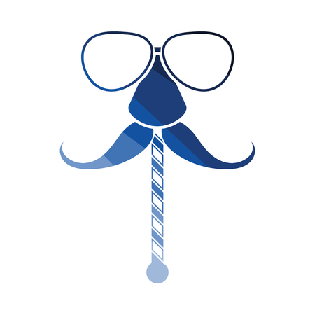 Glasses and mustache icon. Flat color design. Vector illustration. Illustration