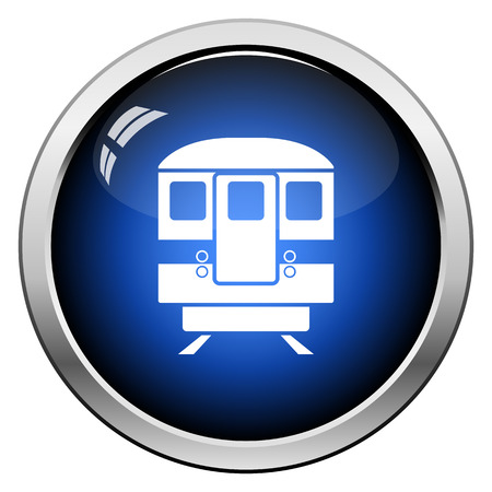 Subway train icon front view. Glossy Button Design. Vector Illustration.