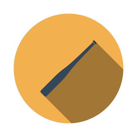 Baseball Bat Icon. Flat Circle Stencil Design With Long Shadow. Vector Illustration. 스톡 콘텐츠 - 122812010