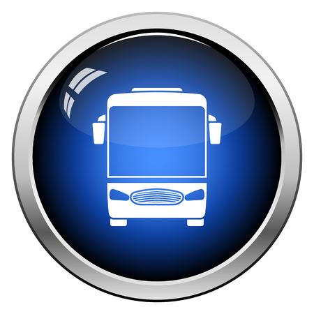 Tourist bus icon front view. Glossy Button Design. Vector Illustration. Vektorové ilustrace