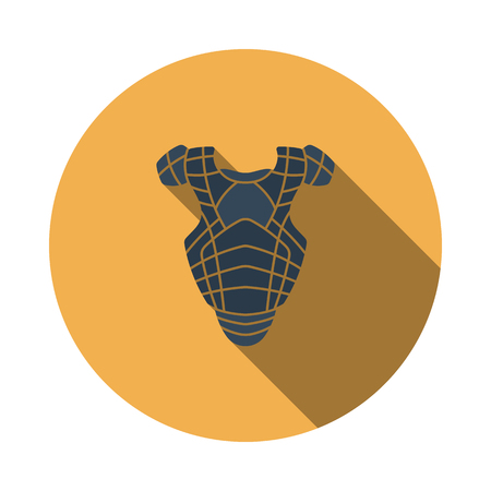 Baseball Chest Protector Icon. Flat Circle Stencil Design With Long Shadow. Vector Illustration.