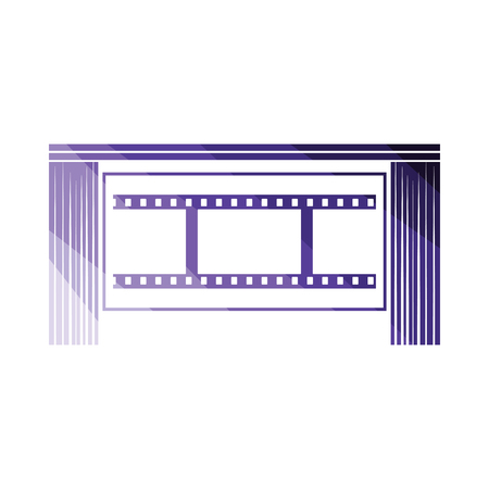 Cinema theater auditorium icon. Flat color design. Vector illustration.