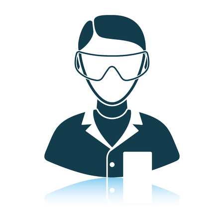 Icon of chemist in eyewear . Shadow reflection design. Vector illustration.