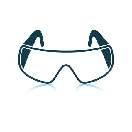 Icon of chemistry protective eyewear. Shadow reflection design. Vector illustration.