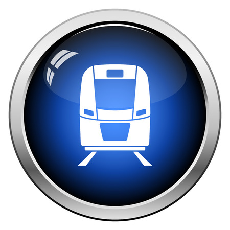 Train icon front view. Glossy Button Design. Vector Illustration.