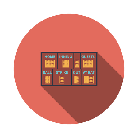 Baseball Scoreboard Icon. Flat Circle Stencil Design With Long Shadow. Vector Illustration.