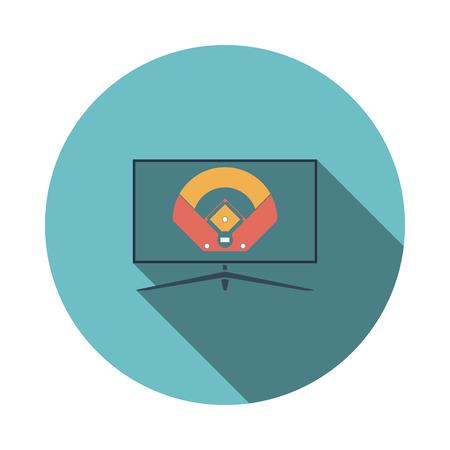 Baseball Tv Translation Icon. Flat Circle Stencil Design With Long Shadow. Vector Illustration.