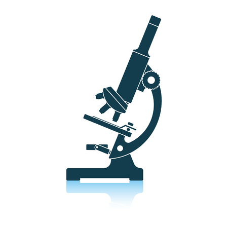 Icon of chemistry microscope. Shadow reflection design. Vector illustration. Stok Fotoğraf - 122812075