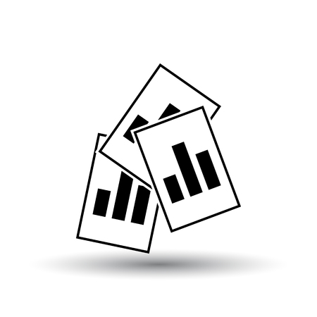 Analytics Sheets Icon. Black on White Background With Shadow. Vector Illustration.