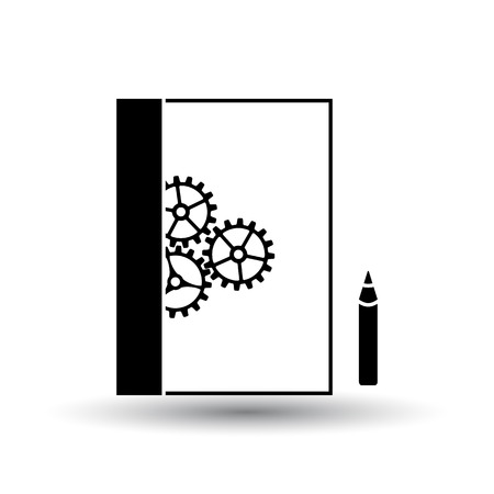 Product Development Icon. Black on White Background With Shadow. Vector Illustration. Stock Illustratie