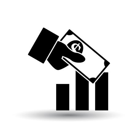 Icône d'investissement. Noir sur fond blanc avec ombre. Illustration vectorielle.