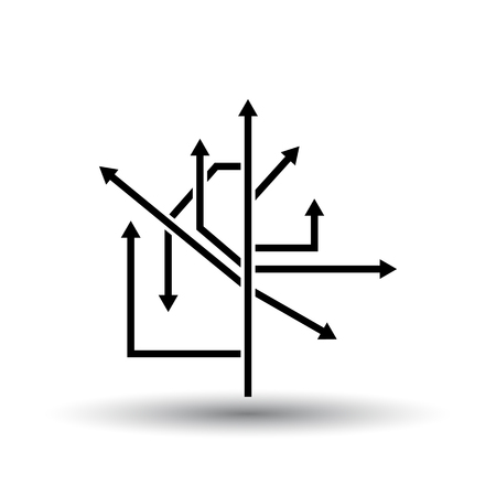 Direction Arrows Icon. Black on White Background With Shadow. Vector Illustration.