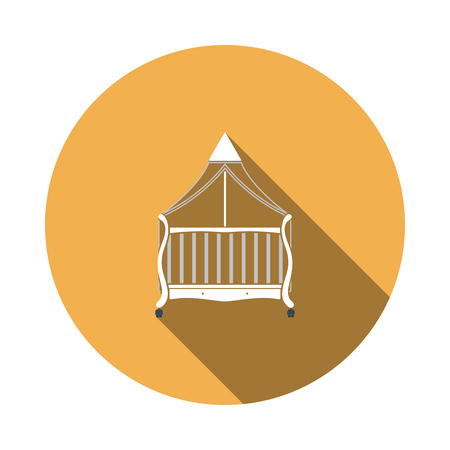 Crib With Canopy Icon. Flat Circle Stencil Design With Long Shadow. Vector Illustration. Illustration