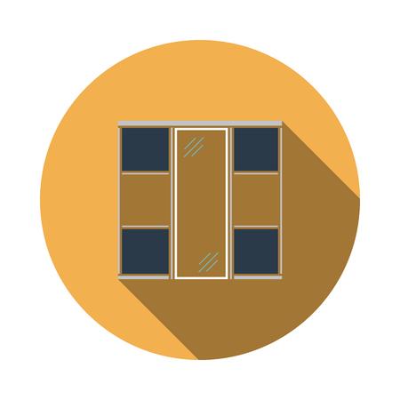 Wardrobe Closet Icon. Flat Circle Stencil Design With Long Shadow. Vector Illustration.