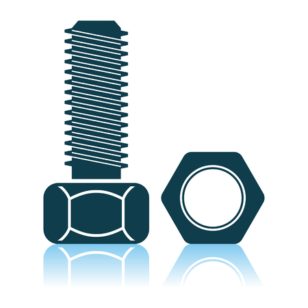 Icon Of Bolt And Nut. Shadow Reflection Design. Vector Illustration. Иллюстрация