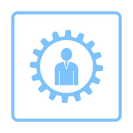 Teamwork Icon. Blue Frame Design. Vector Illustration.