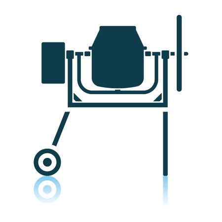 Icon Of Concrete Mixer. Shadow Reflection Design. Vector Illustration.