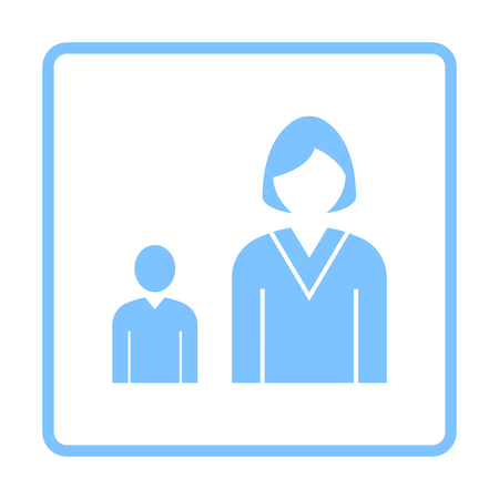 Lady Boss With Subordinate Icon. Blue Frame Design. Vector Illustration. Иллюстрация