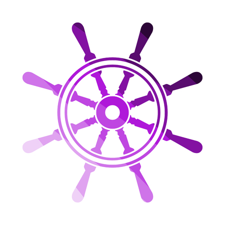 Icon Of Steering Wheel. Flat Color Ladder Design. Vector Illustration. Illustration