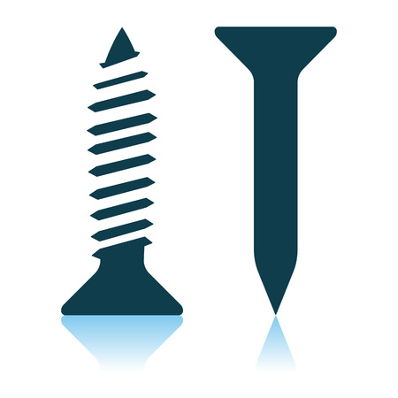Icon Of Screw And Nail. Shadow Reflection Design. Vector Illustration.