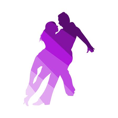 Dancing Pair Icon. Flat Color Ladder Design. Vector Illustration.
