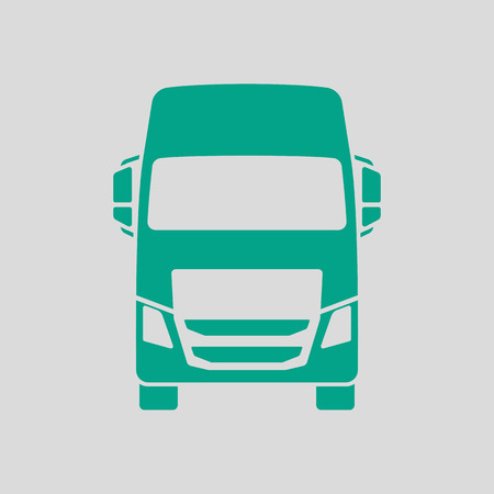 Truck Icon Front View. Green on Gray Background. Vector Illustration.