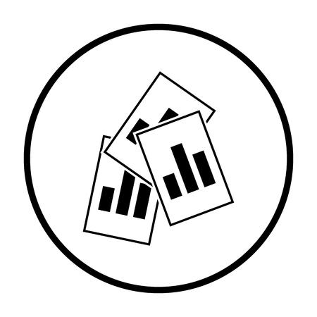 Analytics Sheets Icon. Thin Circle Stencil Design. Vector Illustration.