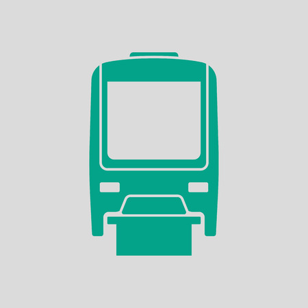 Monorail Icon Front View. Green on Gray Background. Vector Illustration.