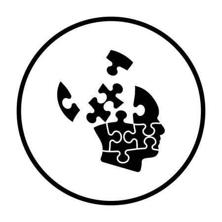 Solution Icon. Thin Circle Stencil Design. Vector Illustration.