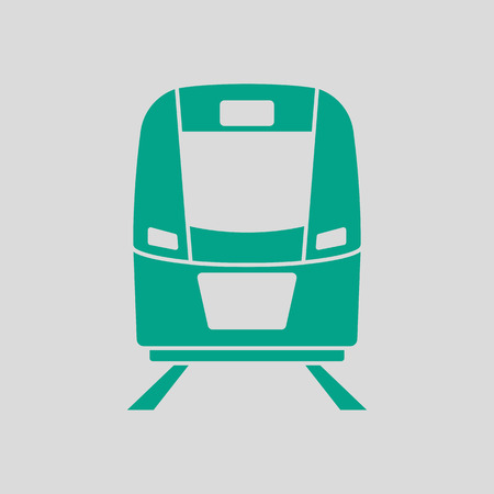 Train Icon Front View. Green on Gray Background. Vector Illustration.