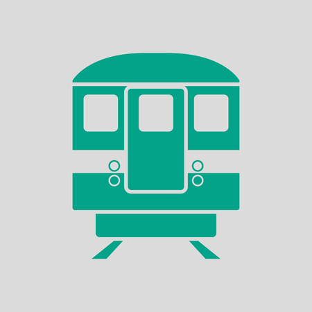Subway Train Icon Front View. Green on Gray Background. Vector Illustration. Illustration
