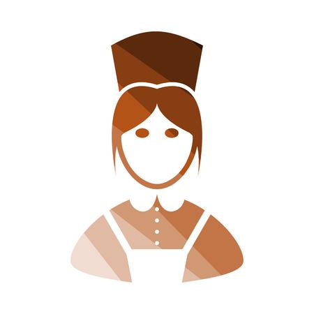 Hotel Maid Icon. Flat Color Ladder Design. Vector Illustration. Illustration