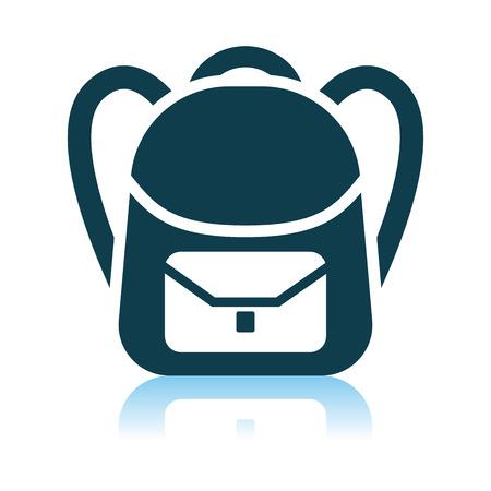 School Rucksack Icon. Shadow Reflection Design. Vector Illustration. 向量圖像
