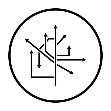 Direction Arrows Icon. Thin Circle Stencil Design. Vector Illustration.