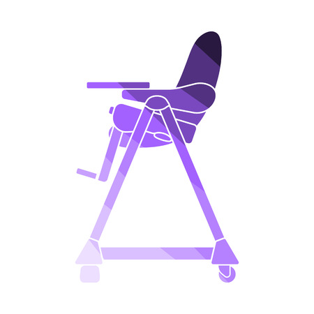 Baby High Chair Icon. Flat Color Ladder Design. Vector Illustration.