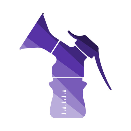 Icono de extractor de leche. Diseño de escalera de color plano. Ilustración de vector.