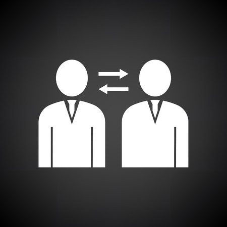 Corporate Interaction Icon. White on Black Background. Vector Illustration.