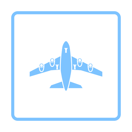 Airplane Takeoff Icon Front View. Blue Frame Design. Vector Illustration.