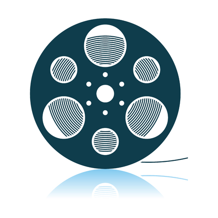 Film Reel Icon. Shadow Reflection Design. Vector Illustration.