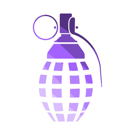 Defensive Grenade Icon. Flat Color Ladder Design. Vector Illustration.