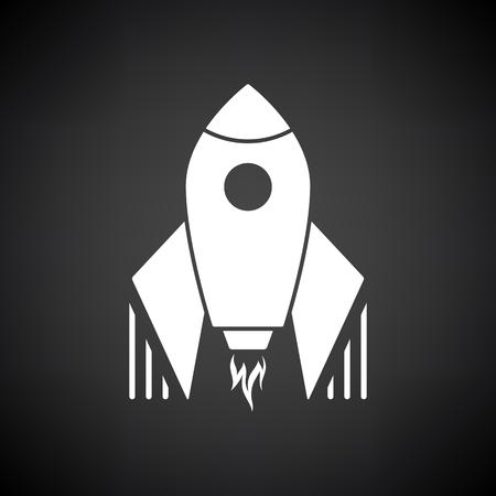 Startup Rocket Icon. White on Black Background. Vector Illustration.