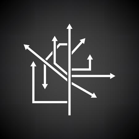 Direction Arrows Icon. White on Black Background. Vector Illustration. Иллюстрация
