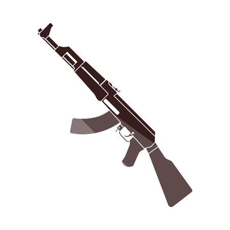 Rassian Weapon Rifle Icon. Flat Color Ladder Design. Vector Illustration. Ilustración de vector