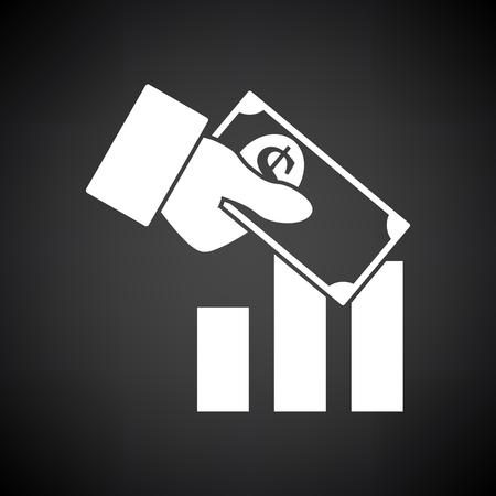 Icona di investimento. Bianco su sfondo nero. Illustrazione di vettore.