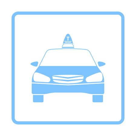 Taxi Icon Front View. Blue Frame Design. Vector Illustration.