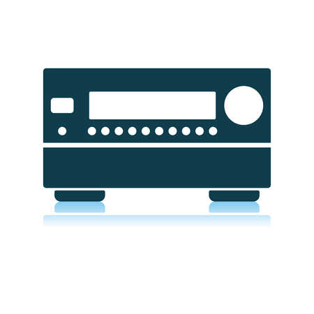 Home Theater Receiver Icon. Shadow Reflection Design. Vector Illustration. Illustration