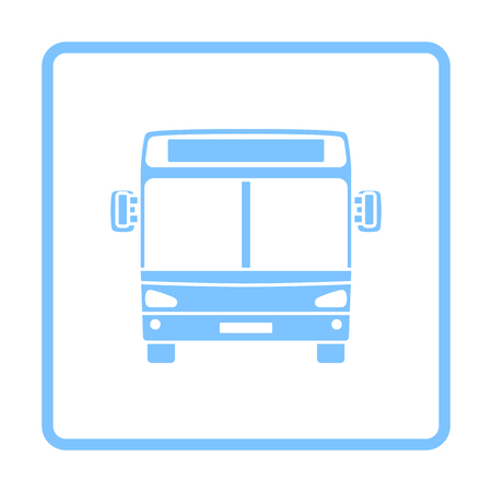 City Bus Icon Front View. Blue Frame Design. Vector Illustration.