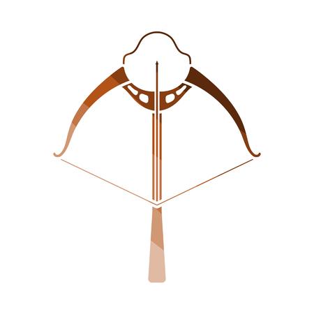Crossbow Icon. Flat Color Ladder Design. Vector Illustration. Çizim
