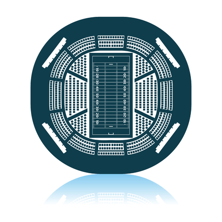 American Football Stadium Bird's-eye View Icon. Shadow Reflection Design. Vector Illustration.